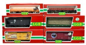 (6) LGB VARIOUS MODEL TRAIN CARS, ORIGINAL BOX