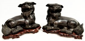 PAIR LARGE DETAILED CHINESE BRONZE FOO DOGS