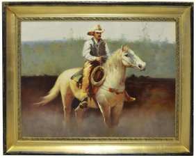 WESTERN PAINTING, COWBOY ON WHITE HORSE