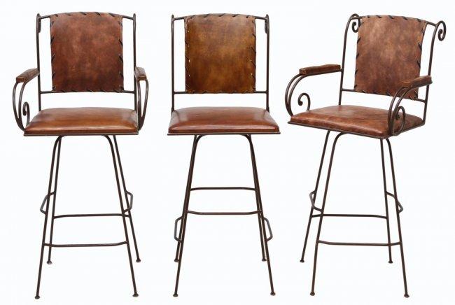 126 3 Leather Amp Wrought Iron Bar Stools Lot 126