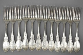 (12) 19TH C. COIN SILVER FORKS, CHICAGO