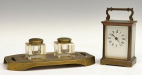 (2) FRENCH CARRIAGE CLOCK & GERMAN DOUBLE INKWELL