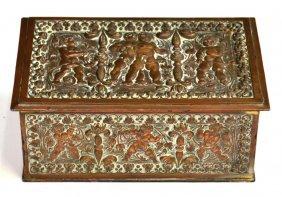 ANTIQUE CONTINENTAL PUTTI RELIEF COPPER TABLE BOX