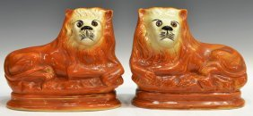 (2) VICTORIAN STAFFORDSHIRE RECUMBENT LION FIGURES