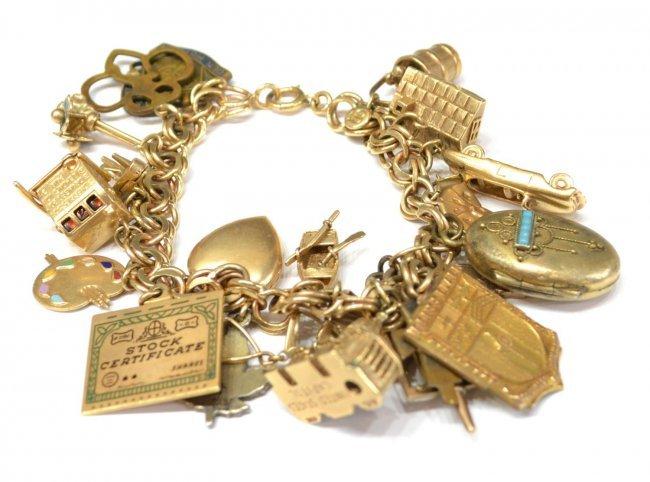 Vintage Estate 14kt Gold Charm Bracelet 88 8 Grams Lot 349