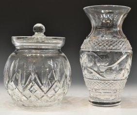 WATERFORD 'LISMORE' BISCUIT JAR & CRYSTAL VASE