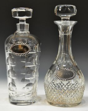 2 Orrefors Amp Cut Crystal Liquor Decanters Lot 389