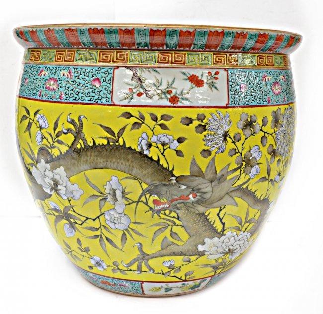 Large antique chinese enameled porcelain fish bowl lot 798 for Chinese fish bowl