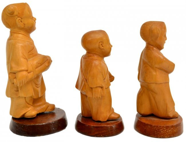 Chinese cultural revolution boxwood figures lot