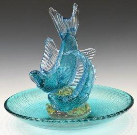 1 large murano art glass fish bowl sculpture lot 711 for Large glass fish bowl