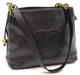 Chanel Black Caviar Leather Cc Logo Shoulder Bag