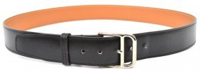 Mens Hermes Black Leather Belt