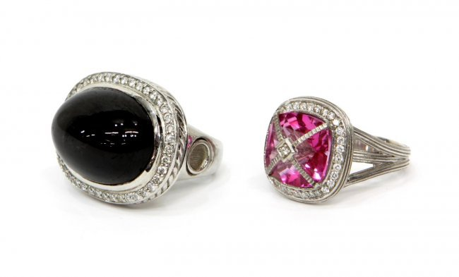 estate gemstone sterling rings lot 520