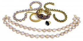 Vintage Costume Jewelry, Colored Crystals