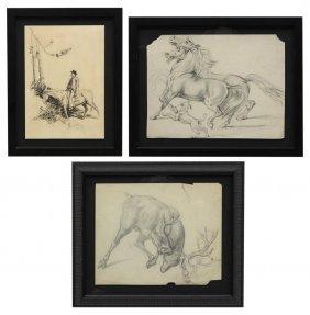 (3) Framed Pencil, Pen & Ink Illustrations