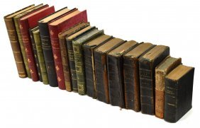 (17) Antique Continental Leather Bound Books