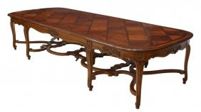 "Louis Xv Style Parquetry Top Banquet Table, 137""l"