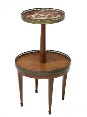 French Two Tier Gueridon, Marble & Walnut Table