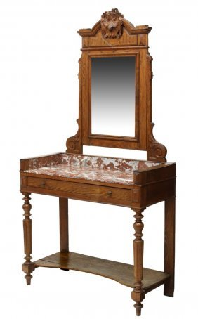 French Louis Xvi Style Mirrored & Marble Vanity