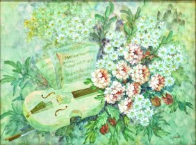 Framed Oil Painting, Flower & Violin Scene