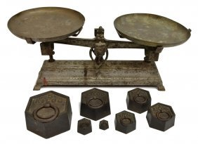 (8) French Counter Balance Scale With Weights