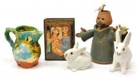 (5)ruth Faktor Art Tile & Terracotta Cabinet Items