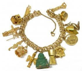 Ladies Estate 10k 14k & 18k Gold Charm Bracelet