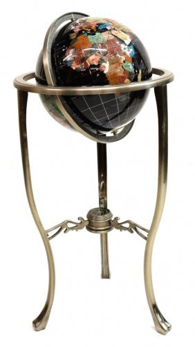 Contemporary Inlaid Stone Globe On Metal Stand
