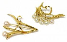 (2) Estate Mikimoto Pearl & 14kt Gold Brooches