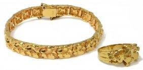 (2)vintage Estate 14kt Gold Nugget Ring & Bracelet