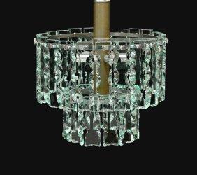 Italian Venini Glass & Chrome 7-light Chandelier