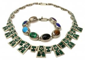 (2) Modernist Mexico Sterling Necklace & Bracelet