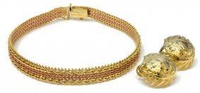(3) Estate 14kt Gold Bracelet & Foliated Earrings