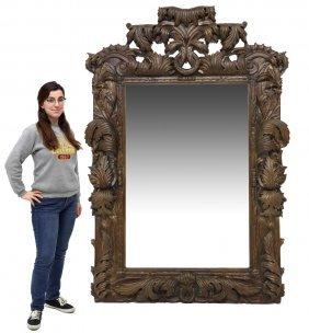 "Large Foliate Framed Wall Mirror, 85""h"