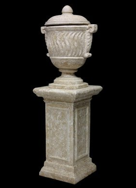 (2) Large Lidded Urn & Pedestal In Faux Stone