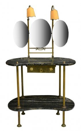Continental Brass & Marble Top Vanity