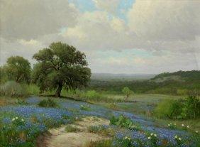 Porfirio Salinas, Large Bluebonnet Painting, 30x40