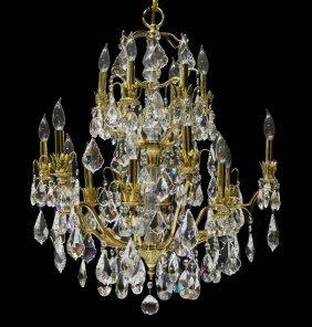 Gilt & Crystal Eighteen Light Chandelier