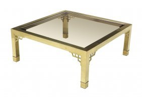 Brass Framed Glass Top Coffee Table