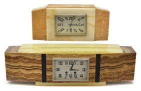 (2) French Art Deco Marble And Onyx Mantel Clocks