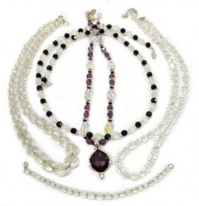 (5) Swarovski & Vintage Faceted Crystal Necklaces