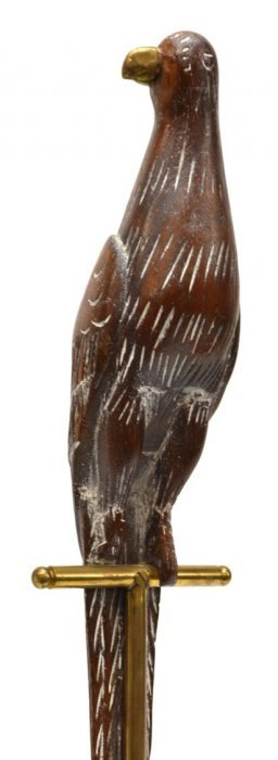 Sarreid Brass And Carved Wood Parrot