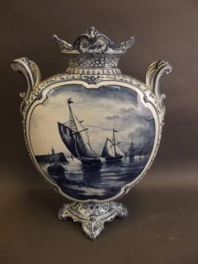 A Large Delft Twin Handled Blue And White Moon Vase