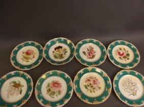 A Victorian Nine Piece Hand Decorated Porcelain Dessert