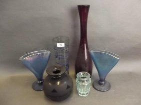A Moser Studio Glass Vase Of Octagonal Form, A Pair Of