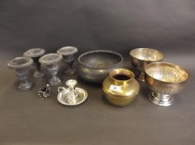 Four Small Lead Classical Urns, A Pewter Fruit Bowl,