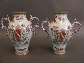 A Pair Of Chinese Porcelain Twin Handled Vases With