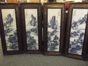 A Set Of Four Chinese Blue And White Porcelain Panels