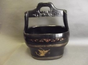 A Chinese Black Lacquer Rice Pail With Gilt Decoration,