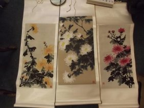 Three Chinese Scrolls Painted With Flowers, 25'' Long